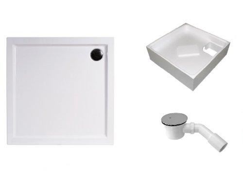 Mebasa DWSET234PT Duschwannen Set 100x90x3,5 cm inkl. Acryl Duschwanne, Duschwannenträger 97x87x14 cm und Ablaufgarnitur