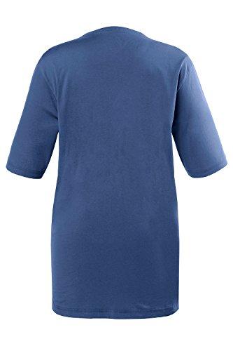 Ulla Popken Große Größen Damen T-Shirt, V-Ausschnitt tiefseeblau