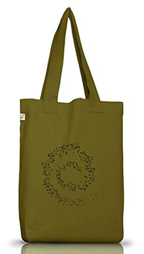 Shirtstreet24, TD - Vogelwirbel, Jutebeutel Stoff Tasche Earth Positive (ONE SIZE) Leaf Green
