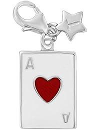 Plata de ley cosquillear as de corazones con encanto SCH280