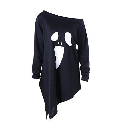 LOPILY Halloween Shirts Sensenmann Kostüm Damen Skelette 3D Sweatshirts für Halloween EIN Schulter Sexy Party Tshirt Gruselige Horro Oberteile Damen Halloween Kostüme (Schwarz, 34)