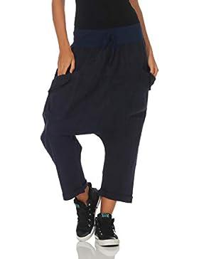 Malito Mujer Harem Pantalones Lino Pantalones Bloomers Capri Colores Lisos 6824