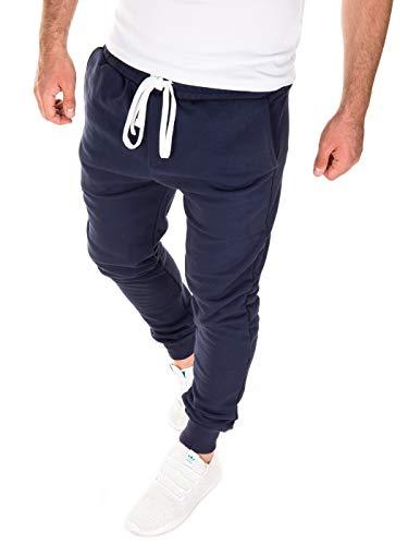 WOTEGA Herren Jogginghose Floki - Bequeme Männer Trainingshose Navy Fleece - Blaue Sweathose Coole Sport Jogging, Blau (Bijou Blue 183921), S