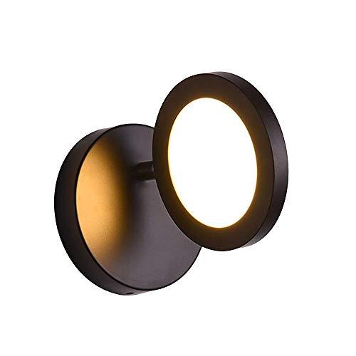 Runde Front 14 (BAIJJ Wandleuchten Kreative Einfache Runde Schwarz Warmes Licht 180 \u0026 deg; Drehende LED beleuchtet Spiegel-Rückseiten-Front scheuert weiche Lichter Größe 14 * 14cm)