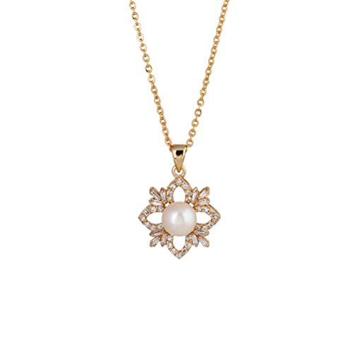 LUOEM Women Zircons Necklace Elegant Micro-inclosed Pearl Rhombus Pendant Necklace Fashion Jewelry Gift (Golden Flower)