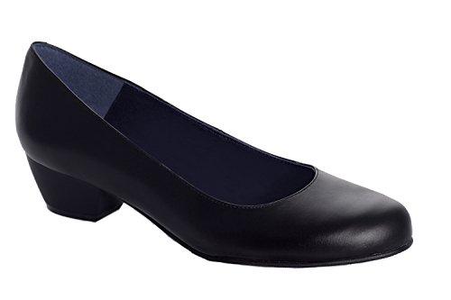 Oneflex Lea negro – zapato cómodo de trabajo para mujer