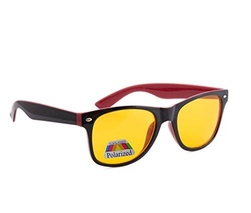 4sold Nacht Driving Gelb Linsen Brille, Schildpatt-Braun Füllend, Ganz UV400 Schutz. Männer, Frauen, Unisex Aviatorstil (Red Black Night Polarized)