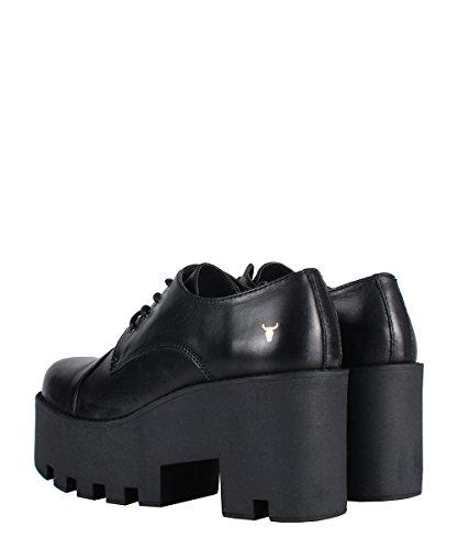 Windsor smithfame Black Shoes-Chaussures de Femme Noires en cuir Noir