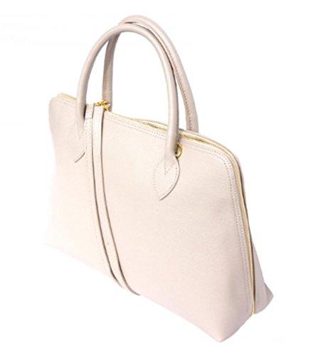 SUPERFLYBAGS Damen handtasche model Circ in Echtem Leder Saffian Made in Italy A4 format Beige