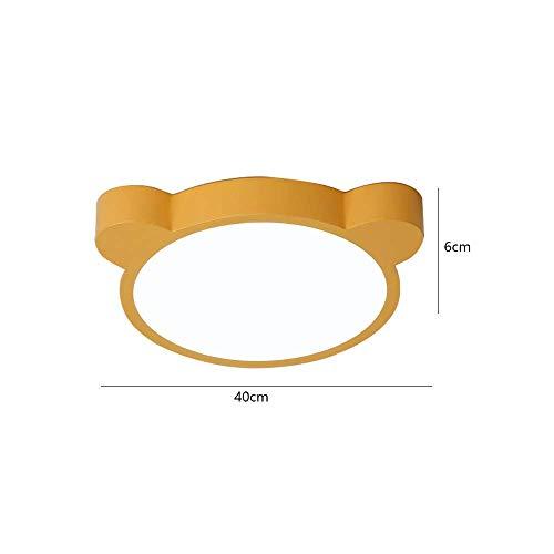 AG Home Schlafzimmer Deckenleuchte, Deckenleuchte, Nordic Kinderzimmer Led Deckenleuchte Junge Cartoon Farbe Macarons Modestil Heimwerker Einfache Schlafzimmerlampe,Gelbes stufenloses Dimmen,40 * 6 c
