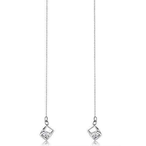 Orecchini platino amore magico quadrato orecchio linea otto frecce otto cuori davvero zircon da donna linea lunga dell'orecchio