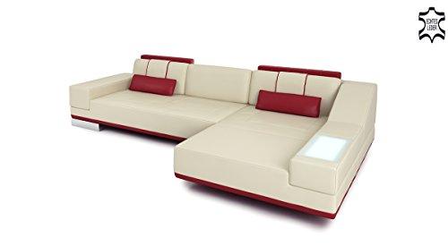 Couch Leder Sofa Ledercouch Ecksofa L-Form Designsofa Ledersofa Wohnlandschaft mit LED-Licht Beleuchtung FOGGIA III