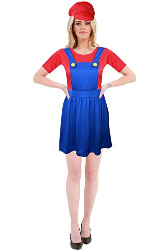 Hi Fashionz Womens 80s Red Blue Super Idraulico Bro Costume Donna Stag Do Outfit Cosplay Medio