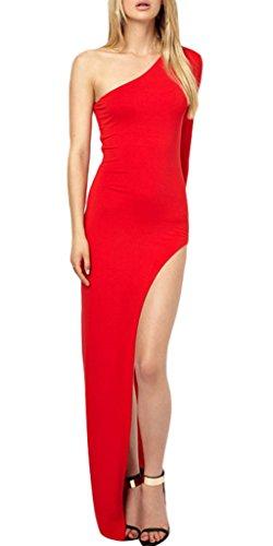 Smile YKK Robe de Soirée Longue Femme Sexy Une Epaule Dénudée Robes Fendues Cérémonie Mariage Rouge