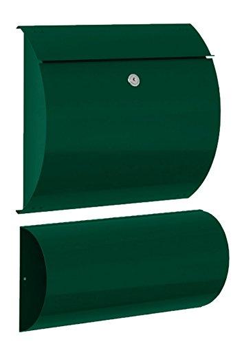 Max Knobloch Briefkasten Honolulu moosgrün (RAL 6005) mit Zeitungsfach 10 Liter Wandbriefkasten