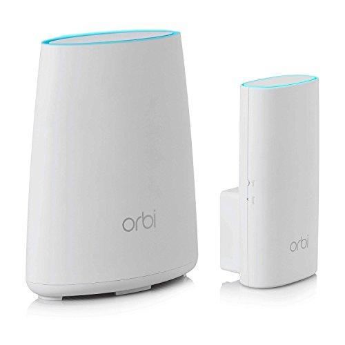 Netgear Orbi Wifi Mesh, 1 Router e 1 ripetitore, fino a 150mq per casa su un piano, Compatibile Alexa (RBK30)