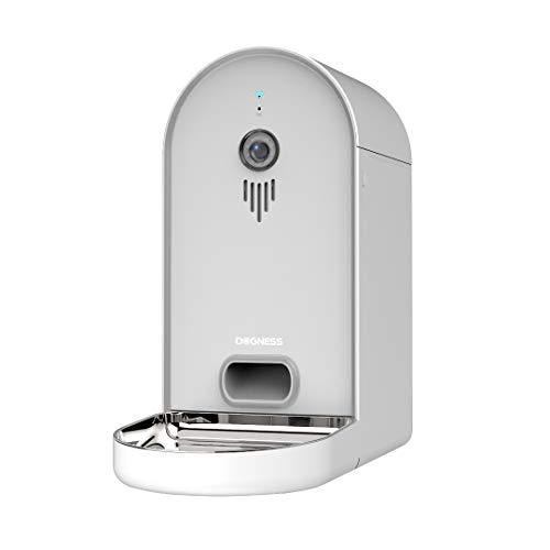 DOGNESS Automatischer Futterautomat mit Kamera und Audioübertragung, Smarter 6L WLAN Futterspender für Trockenfutter, App, Lautsprecher und Mikrofon, Futternapf für Hunde, Katzen und Mehr, Weiß
