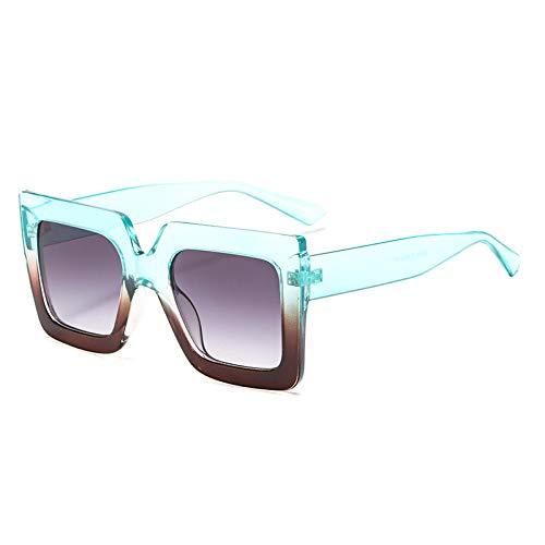 Yangjing-hl Quadratische Sonnenbrille Männer und Frauen Trend Brille zweifarbig große Sonnenbrille Sonnenbrille auf dem grün grau doppelt grau Tabletten