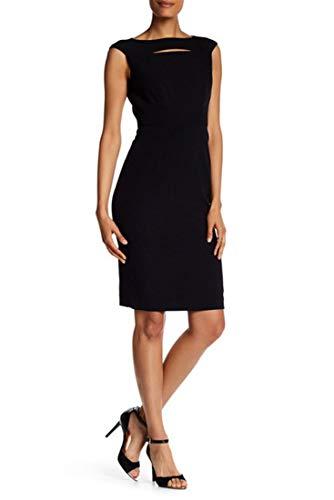 Tahari Neck Cutout Cap Sleeve Sheath Dress - Black