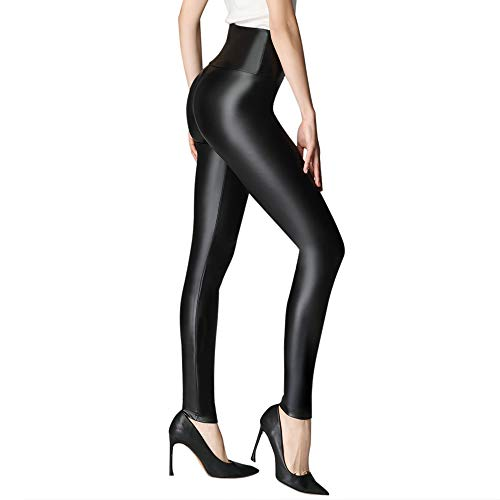KEALLI Mujeres Pu Leggins cuero Skinny Elásticos pantalones(Negro,XL)