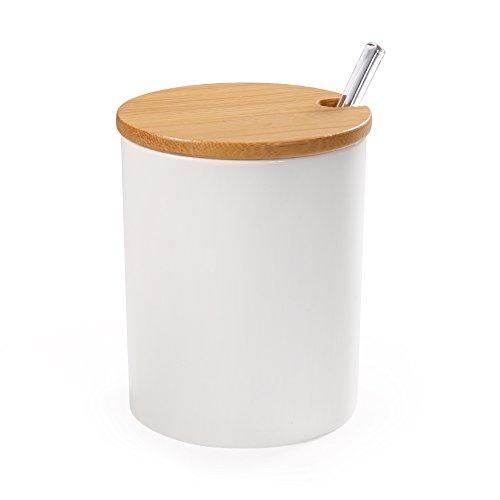 77L Bol à sucre, bol en céramique avec cuillère à sucre et couvercle en bambou pour la maison et la cuisine, design élégant, blanc, 320 ML (10,8 OZ)
