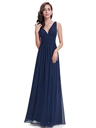 404e07a36887 Ever-Pretty Vestito da Sera Elegante in Chiffon Sexy con Scollo a V Doppio  Blu