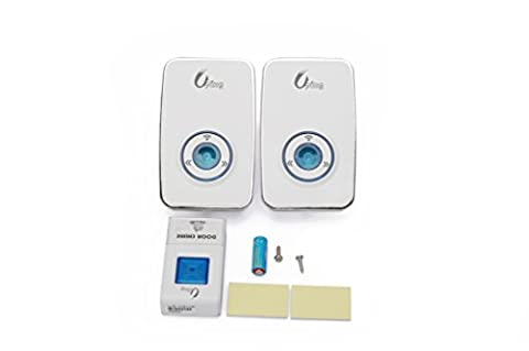 Uping® plug in Wireless Doorbell Kit Cordless Portable door bell With Night light, 36 Melodies Tunes To Choose, Sound 100db upto 300 meter super far remote control and receiving distance white 1 Push Button and 2 UK Plug door chime IP44 Waterproof