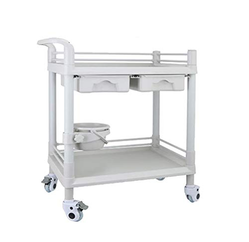 Trolleys Salon SPA Beauty Friseurwagen mit 2 Schubladen und verstellbarem Schmutzkübel | ABS-Krankenwagen für Labor, Schönheitssalon, Klinik, Krankenhaus, Familie (größe : M(L64.5xW44.5xH90cm))