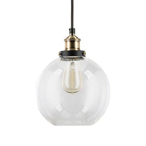 PurelumeTM Retro Hängeleuchte Purbulb Landhausstil Glas Hängelampe (E27 Fassung, Glasglocke, Textilkabel, inkl. Vintage Glühbirne) -