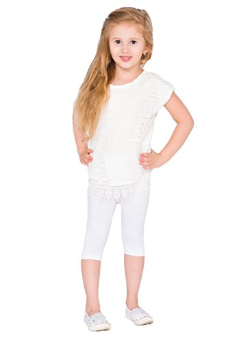 hi!mom Cropped Kinder 3/4 Baumwolle Leggings Basic Plain Kinder Capri Hosen Alter 2-13 Weiß 11-12 Jahre Basic Leggings