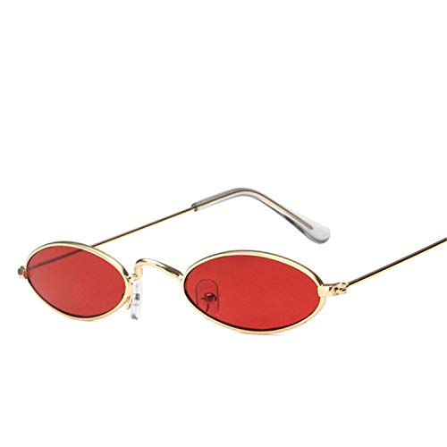 FGRYGF-eyewear2 Sport-Sonnenbrillen, Vintage Sonnenbrillen, Small Oval Sunglasses For Men Male Retro Metal Frame Red Vintage Round Skinny Sun Glasses For Women UV400 as picture C7