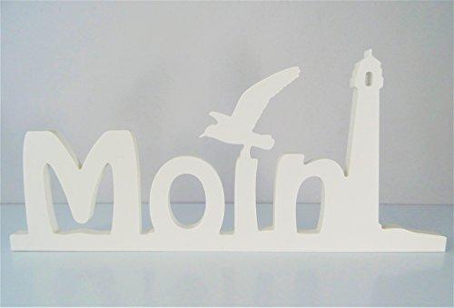 Schriftzug Moin mit Möwe und Leuchtturm. in weiß - frei stellbar - Deko-Buchstaben