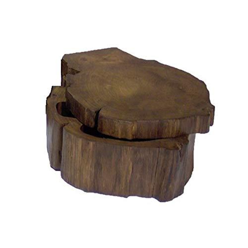 Treuheld® | Brauner SCHMUCKKASTEN aus Teak-Holz - Aufbewahrungsbox für Schmuck, kleine Geschenke. - Geschenkbox mit Deckel - Dunkelbraun - Holzbox ideal als Geschenk