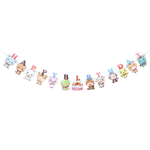 ay Letters Bunting Cartoon Animals Pattern Banner Decoration Paper Flash Banner Pull Flag Party Supplies for Party (Without Battery) ()