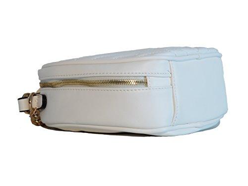 David Jones Borsa donna mini bag in ecopelle lavorazione matelassé portabile a mano, a spalla e a tracolla Bianco