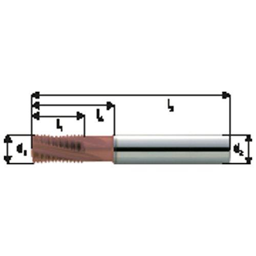 Fraise à fileter GFM en carbure monobloc, arrosage central, revêtement TiCN, Ø d1 : 12 mm, Pas 1,00 mm, Lames de l1 20 mm, Pour Ø filetage : 16 mm