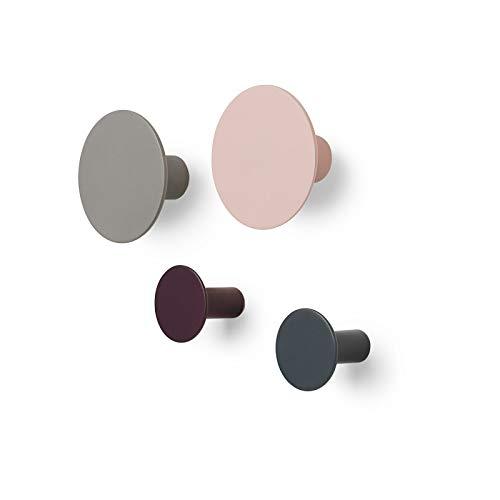Blomus - Ponto Set 4 Wandhaken - Rosé/Dunkelrot/Grau/Dunkelgrau - Polystone - H: 45mm - Lieferung erfolgt im 4er-Set -