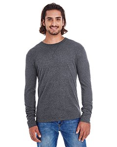 Men's Heather Sueded Long Sleeve Jersey CHARCOAL/ BLACK 2XL - Sueded Baumwoll-shirt