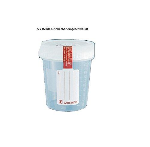 Urinbecher 100 ml steril, mit montiertem Schraubdeckel, transparent (5 Stck.)