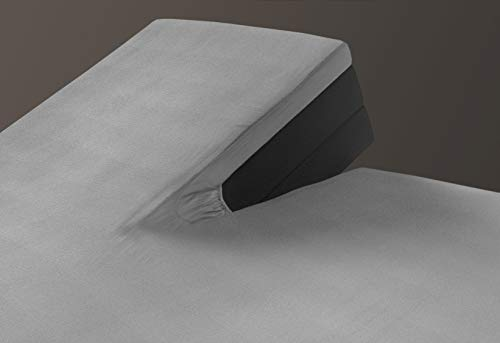 Sleepmed Bettwäsche-Set für Doppelbett, 100{3801a54f32668422810488aee60192341c2a561e83807aa58895fd22a74f0b70} Jersey-Baumwolle, mit geteilter Unterteilung für 2 Einzel- oder Doppelbetten, ergonomischer Steppschutz, Grau, 180 x 200 cm