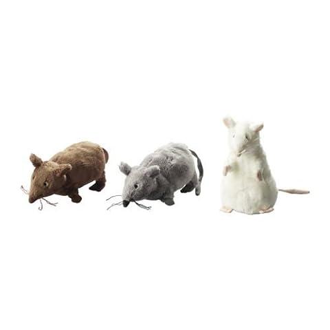 Set of 3 - Ikea Gosig Mus Rat Mouse Stuffed Animal Soft Toy, White, Brown, Grey, 5 1/2