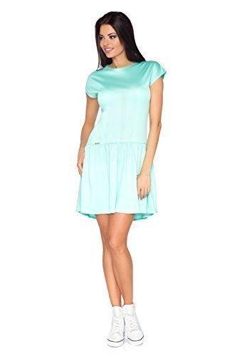 Futuro Fashion Mini Robe Patineuse Style Asymétrique Col Bateau Manche Courte FA380 Menthe