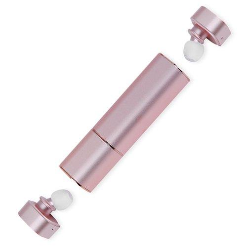 Bluetooth Kopfhörer MindKoo Mini In Ear Headset 2 Stück CSV 6.0 Noise-Cancelling True Wireless Earbuds mit Mikrofon und Tragbare Powerbank (Kleinste, Kabellos, Unsichtbar), Pink