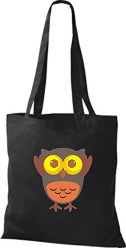 Punkte mit Tragetasche Owl Stoffbeutel Retro Eule diverse Karos streifen schwarz Bunte niedliche ShirtInStyle Jute Farbe xpX0qwYwa
