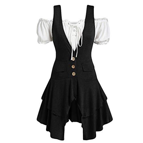 Clacce Frauen Plus Größen Mantel Blusen Knopf Taschen überlagertes DamenTrägershirt-Set Anzüge Business Hochzeit Smoking Knopf Anzugjacke Anzugweste mit Anzughose Set Blazer Sakko -