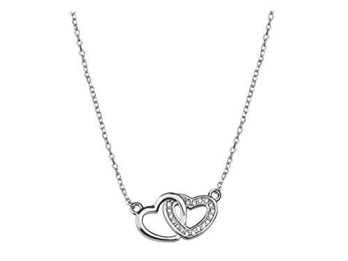 alskette Doppel Herz 925 Silber 50165 ()