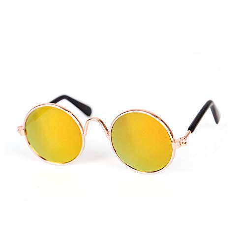 Ouken Pet Sonnenbrille kühler stilvolle und lustige Nette Haustier-Sonnenbrille Classic Retro-rundes Metall Prinz Prinzessin Sonnenbrille Fotorequisiten Spielzeug Cosplay Gläser 2Pcs