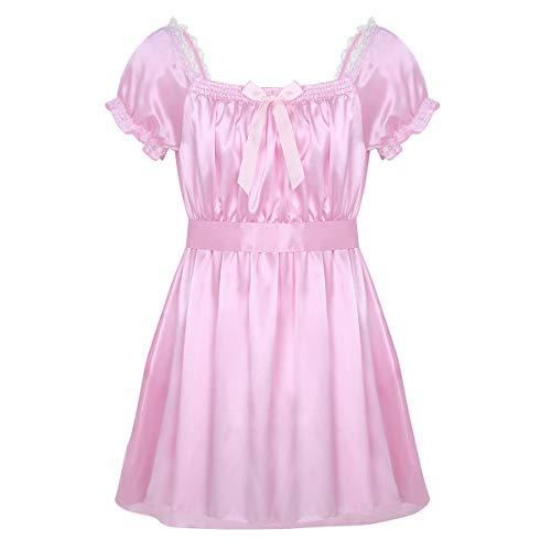 dPois Herren Unterwäsche Glänzend Dessous Kleid Nachtkleid Männer Satin Dessous Crossdresser Sissy Kleid Schlafanzug Babydoll Lingerie Nachtwäsche Reizwäsche Rosa X-Large