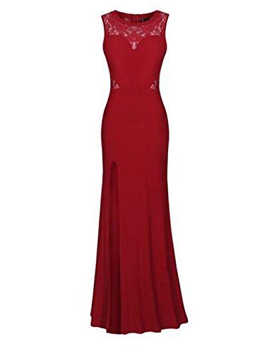 Damen Rundhals Lace Spitzen kleid Lang Brautkleid Festkleid Abendkleid Red-S