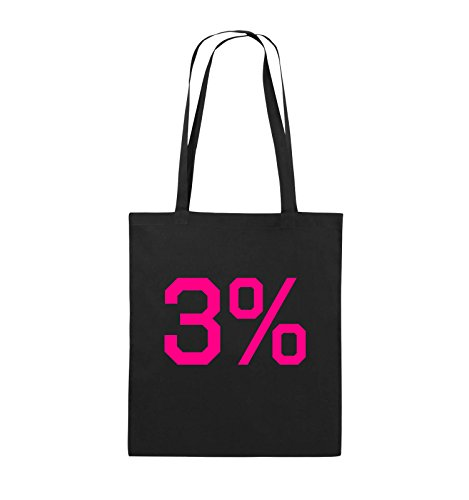 Buste Comiche - 3% - Logo - Borsa In Juta - Manico Lungo - 38x42cm - Colore: Nero / Rosa Nero / Rosa